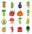 vegetable character icons vector image vector image