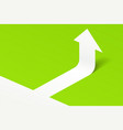white arrow up on green with shadow vector image vector image