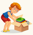 young woman cardboard box with things poster vector image vector image