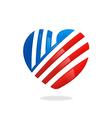 love heart stripe logo vector image