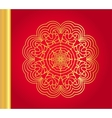 Golden snowflake on red background vector image