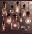 vintage glowing light bulbs transparent set
