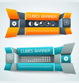 3d geometric shapes banners vector image