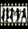 attractive beautiful girls posing in film frame vector image vector image