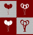 balloons set sign bordo and white icons vector image