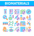 biomaterials collection elements icons set vector image vector image