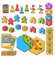 board game set figures with dices and play cards vector image vector image