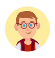 boy in spectacle glasses pic in round web button vector image vector image