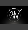 bv handwritten letters logo design with circular vector image vector image