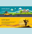camping hiking and trekking horizontal banners vector image vector image