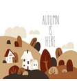 cartoon autumn landscape with cottages and vector image