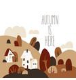 cartoon autumn landscape with cottages vector image