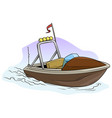 cartoon small brown motor boat on the sea vector image