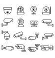 cctv camera line icons set vector image vector image