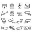 cctv camera line icons set vector image