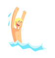 cheerful blond boy having fun in the water vector image vector image