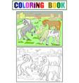 children coloring cartoon horses grazing on meadow vector image vector image
