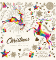 christmas and new year vintage low poly card vector image