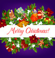 christmas garland banner with wishes of merry xmas vector image vector image