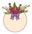 circular floral spring frame with lilac ribbon vector image