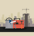 construction tools over cityscape vector image vector image