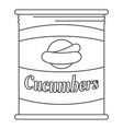 cucumbers tin can icon outline style vector image