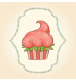 cupcake look like strawberry vector image vector image