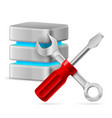 database icon with tools on white vector image vector image