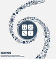 Dices icon in the center Around the many beautiful vector image