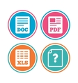 Document icons XLS PDF file signs vector image vector image