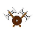 double axe and shield logo banner vector image