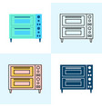 double deck pizza oven icon set in flat and line vector image