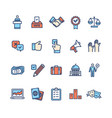 election signs color thin line icon set vector image