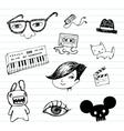 Emo doodle set vector image vector image