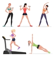 Fitness women female in gym set Healthy lifestyle vector image vector image