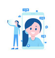 girl taking selfie video call many likes vector image vector image