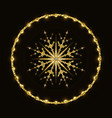 golden glittering snowflake in shiny ring vector image vector image