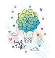hand drawn aerostat with succulent flower balloon vector image vector image