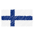 hand drawn national flag of finland isolated on a vector image vector image