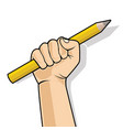 hand in a fist holding a pencil vector image vector image