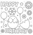 happy birthday coloring page vector image vector image