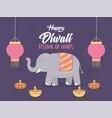 happy diwali festival elephant lanterns and diya vector image vector image