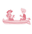 happy young couple sailing on a boat vector image