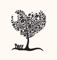 heart shaped tree with leaves isolated on light vector image vector image