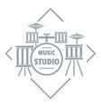 instrument studio logo simple gray style vector image vector image