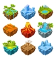 Islands Of Computer Game Isometric Set vector image