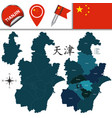 map of tianjin with divisions vector image vector image