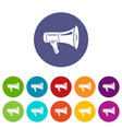 megaphone icons set color vector image vector image
