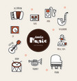 music hand drawn doodle icons set vector image vector image