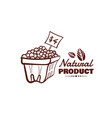 natural product berries monochrome emblem vector image vector image